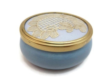 Blue Trinket Box - Lace Lid, Porcelain, Vintage