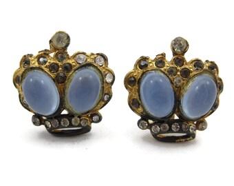 Rhinestone Crown Earrings - Jelly Belly Moonstone Glass, Screw Backs