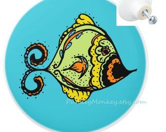 Colorful Fish Drawer Pulls Custom Ceramic Knob Pull Beach Ocean Decor Nautical Kids Teens Room Decor