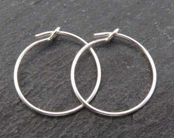 Sterling Silver Beading Hoop 15mm ~ PAIR (CG8641)