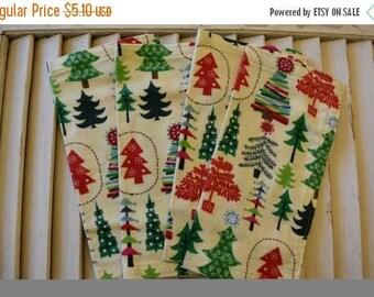 "SALE 10% OFF Set of 4 Flannel Cloth Napkins Christmas Tree Print   11"""