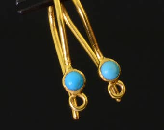 18k Solid Yellow Gold Earwires With Sleeping Beauty Turquoise Bezel Pair