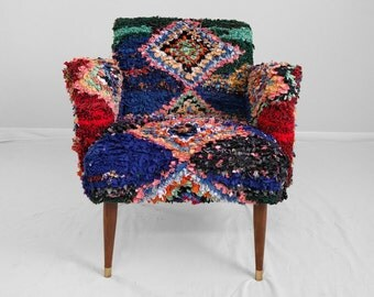 20% SALE RagRug Chair by Midwest Vintage Supply custom moroccan textile covered mid mod arm chair