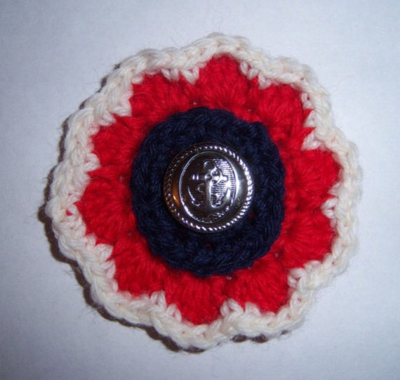 Crochet brooch Handmade Flower corsage Retro jewelry Nautical Accessories Patriotic pin July 4th brooch Floral applique USA topper Anchors
