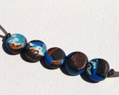 Polymer Clay Beads/Cobalt Coin