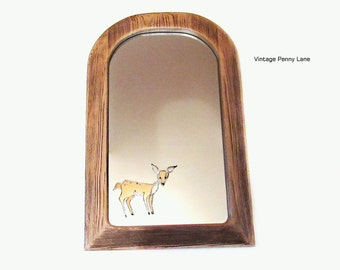 Vintage Handmade Mirror, Wall Hanging, Wood, Stained Glass Deer