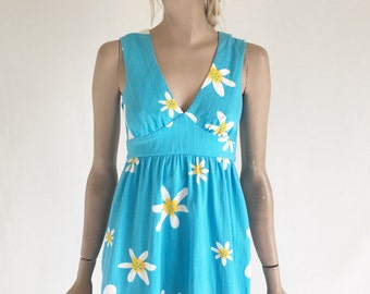 Vintage 70's Mod Print Maxi Dress. Size X Small