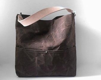 Casual Shoulder Bag, Waxed Canvas Tote, Everyday Bag, Bucket Bag, Day Bag, Dark Brown