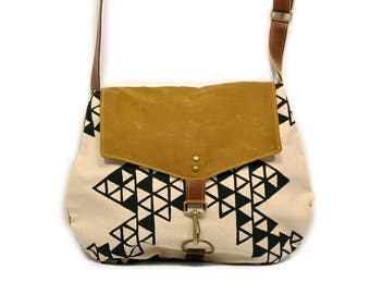 satchel • black and white crossbody purse • geometric triangle print - hand printed canvas - brown waxed canvas • every day bag - cross body