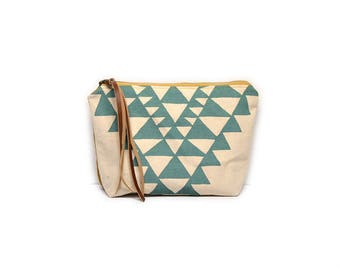cosmetic pouch • geometric make up bag • aqua triangle print - waxed canvas - geometric print • large clutch - make up bag