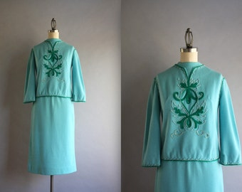1960s Dress Set / Vintage 60s Turquoise Blue Knit Top and Skirt / 60s Embroidered Carlye Suit Set