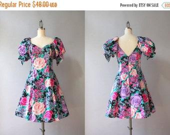 STOREWIDE SALE Vintage 90s Dress / 1990s Flouncy Black Floral Mini Dress / 1980s Full Tulle Skirt Puff Sleeve Bold Rose Dress