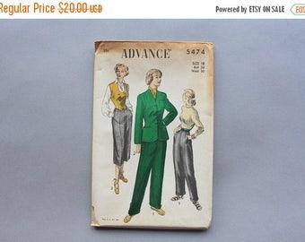 STOREWIDE SALE 1950s Sewing Pattern / 40s 50s Slacks Capris and Jacket Pattern / Uncut Factory Fold Advance Pattern size 18 30 inch waist