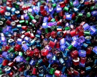 1 lb pound cut edge Czech glass jewel tone lined seed beads ruby, emerald, amethyst, sapphire