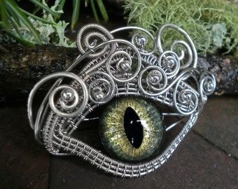Gothic Steampunk Silver and Green Eye Pendant