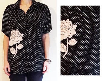 Polka Dot Classic Black and White Button Up Short Sleeve Blouse Sample Item with White Rose Applique Flock