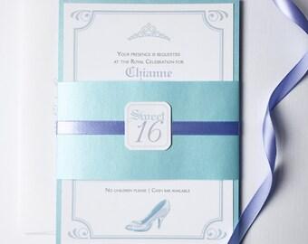 Cinderella Sweet 16 Invitation, unique wedding invitations, ice blue invitation, lilac invitation, elegant quinceanera, princess invitation