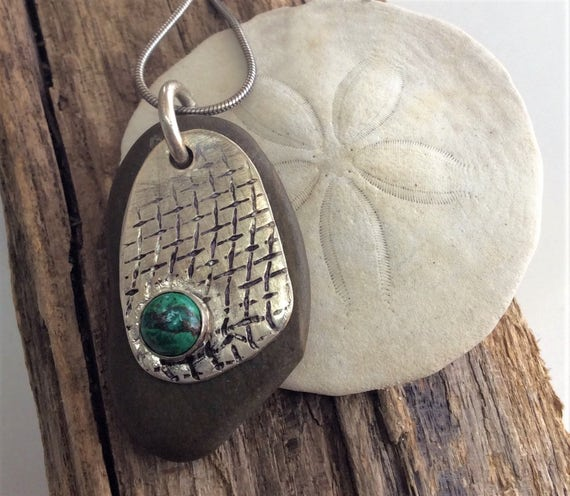 Sterling Silver Necklace with Beach Stone and Turquoise