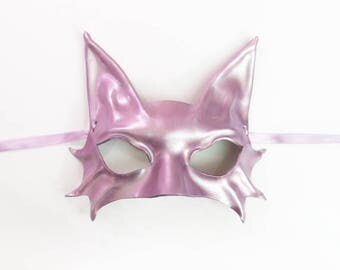Smaller Size Kitty Cat Mask in light metallic purple with a hint of gold Cat Leather Mask costume masquerade elegant sexy