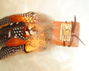 Native American Smudge Fan, Chippewa, Tribal, Leather, Carved Camel Bone, Suede, Multi Feathers, Clearing, Protective, Handmade, Gift, OOAK