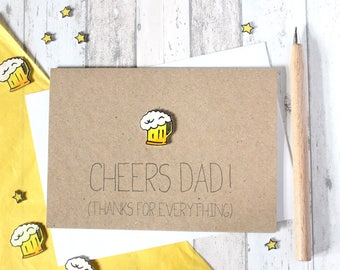Father's Day Card. Cheers Dad. Handmade Card. Thank You Card. Happy Fathers Day. Card for Dad. Beer. Dad Card. Fathers Day. Father's Day