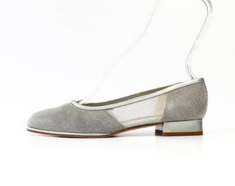 1990s Silver Metallic Mesh Ballet Flats