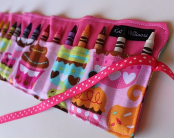 Cupcake Crayon Roll-16 Crayola Crayons Included-Great Christmas Gift, Party Gift, or Stocking Stuffer-Ready to Ship