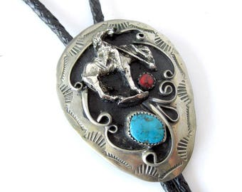 Bolo Tie - Western Style Necktie - Turquoise Stone in Silver Setting