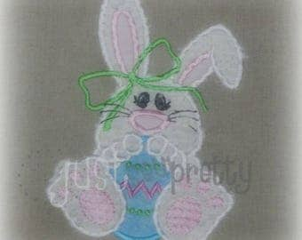 Chubby Bunny Girl Egg Easter Embroidery Applique Design