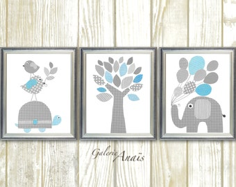 Baby Boy Nursery Decor Kids wall Art Nursery wall Art Blue gray nursery elephant nursery giraffe bird Tree Nursery art Set of three prints
