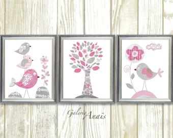 Pink and gray, Nursery wall art, baby nursery decor, Girl Nursery Art, tree, flower, Birds, Set of three prints