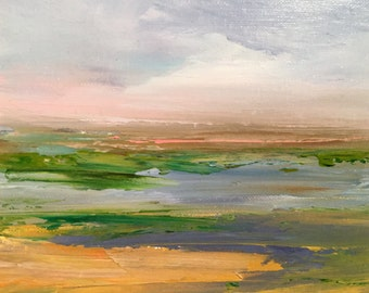 Vast Marshland- Painting- 8 x 10 Canvas Panel- Frame yourself - Fits in any standard 8 x 10 frame