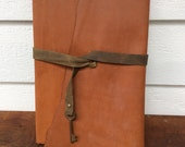 Leather Baby Book- Simple sweet brown leather with skeleton key Journal by Binding Bee Indianapolis, Indiana