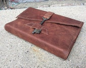 Refillable light distressed brown leather journal with skeleton key