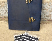 Photo Album - Large Blue Leather Photo Album with Archival Pages - Includes photo corners
