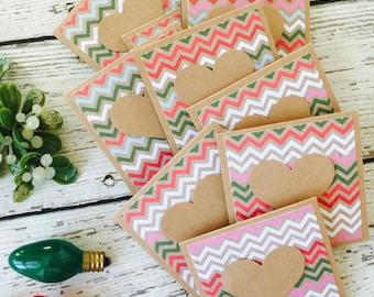 Christmas Chevron Set of Mini Heart Cards