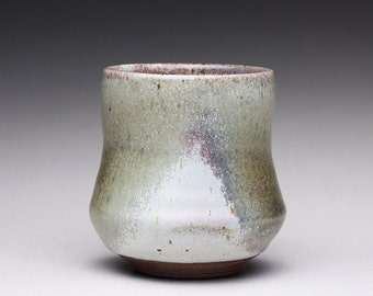 handmade ceramic cup, pottery teacup, yunomi, tumbler with lavender and olive green wood ash glazes