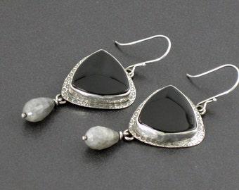 Black Onyx Labradorite Earrings, dangle earrings, black silver gray, sterling silver, boho, bohemian, black onyx, labradorite, michele grady