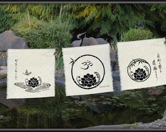 Three Little Lotus prayer flags-Lotus-Zen decor-shrine-lotus flower-OM symbol-ZEN-Be Still-spiritual-circle of life-meditation decor-prayers