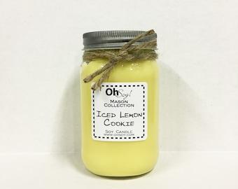 Soy Mason Jar Candle - Iced Lemon Cookie - 16oz OhSoy! Mason Cande