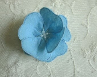 3 inch BLUE Pearl Glass Beaded Felt Fabric Flower Applique Bridal Baby Hair Accessory