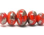 ON SALE 40% OFF Five Graduated Electric Orange Metallic Rondelle Beads - Handmade Glass Lampwork Beads - 10705011