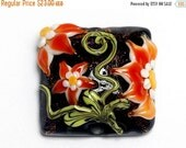 ON SALE 40% OFF New! Handmade Glass Lampwork Bead - 11838004 Clementine's Elegance Pillow Focal Bead