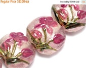ON SALE 40% OFF Four Fuchsia Flower Lentil Beads 10109312 - Handmade Glass Lampwork Bead Set