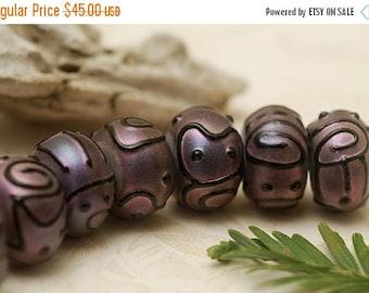 ON SALE 35% OFF Handmade Glass Lampwork Bead Set - Seven Light Purple Pearl Surface Rondelle Beads 11204501