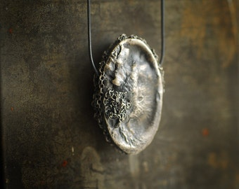 Raw Silver Jewelry, Ocean Art Pendant, Texture Necklace, Metal Art Sculpture, Wife Birthday Gift, Brooch Pin, Statement Jewelry, Unique