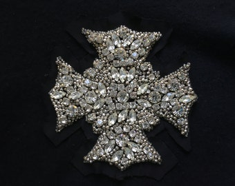 "5"" Vintage Medieval Bysantine Rhinestone Cross Patch Handmade Metal Cased Glass Stones Black Applique Embellishment Striking"
