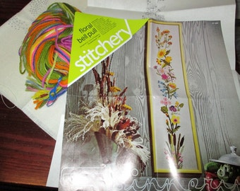 Vintage Spinnerin Stitchery Crewel Kit Floral Bell Pull ST 1000 Kit Complete and Ready to Stitch