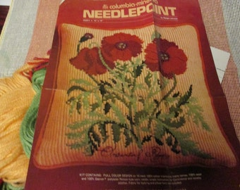 Needlepoint Kit Oriental Poppy Columbia Minerva 2404 Margot Johnson Ready to Stitch