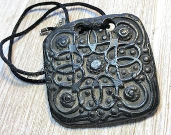 Wondrousstrange Celtic Roots Black Ebony Ivory Look Waxed  Porcelain Statement Pendant Necklace